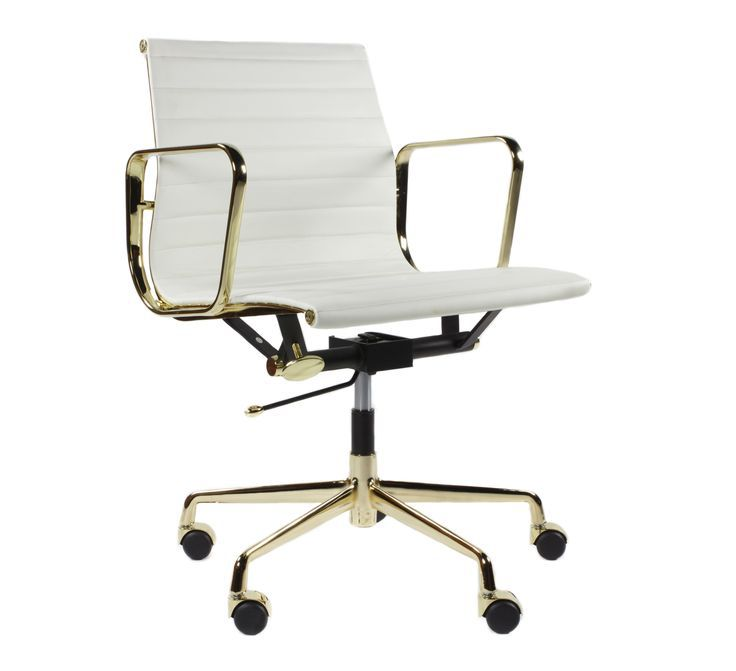White Leather Office Chair with Gold Arm and Metal Base