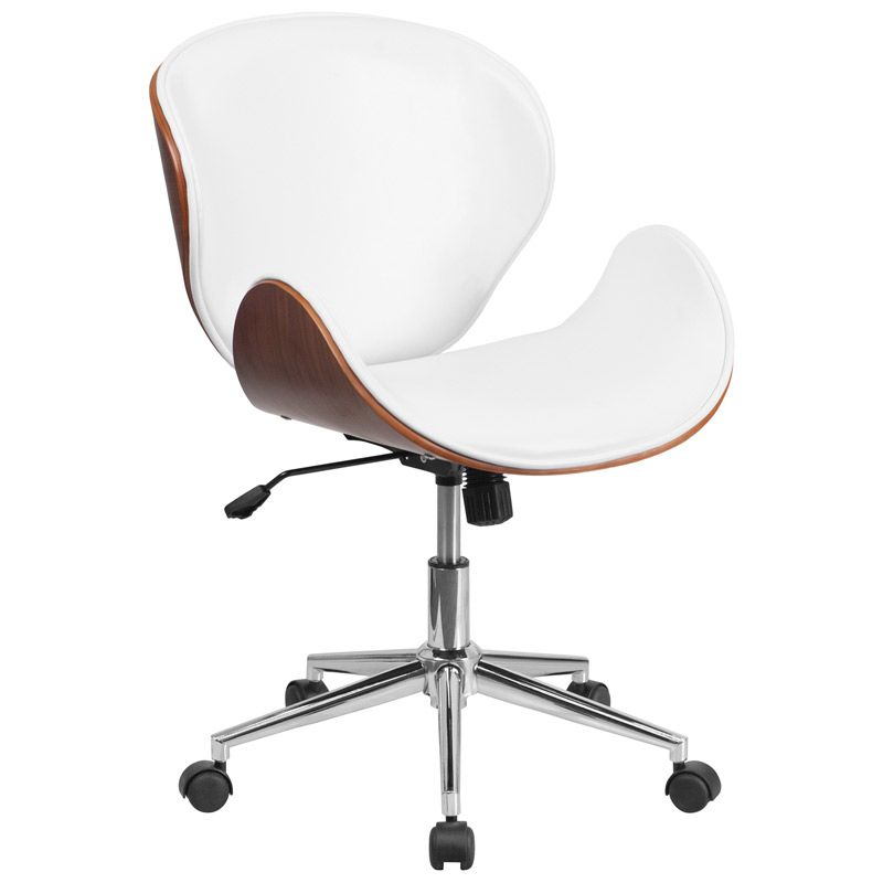 White Leather and Walnut Wood Office Chair