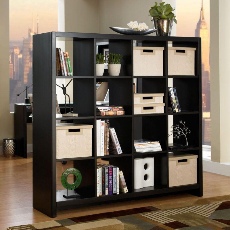 Wooden black home office bookshelf