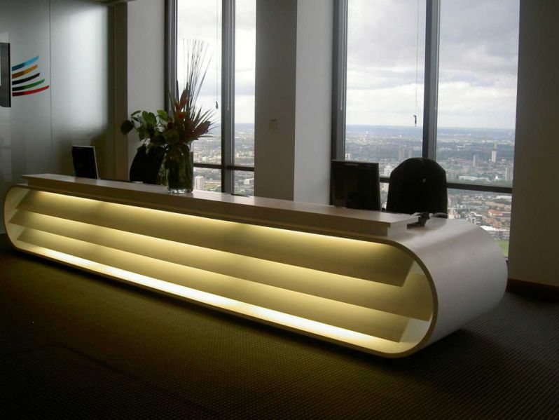 elegant contemporary reception desk design plans