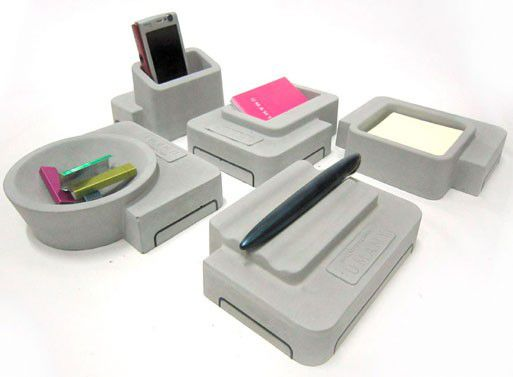grey desk organizer