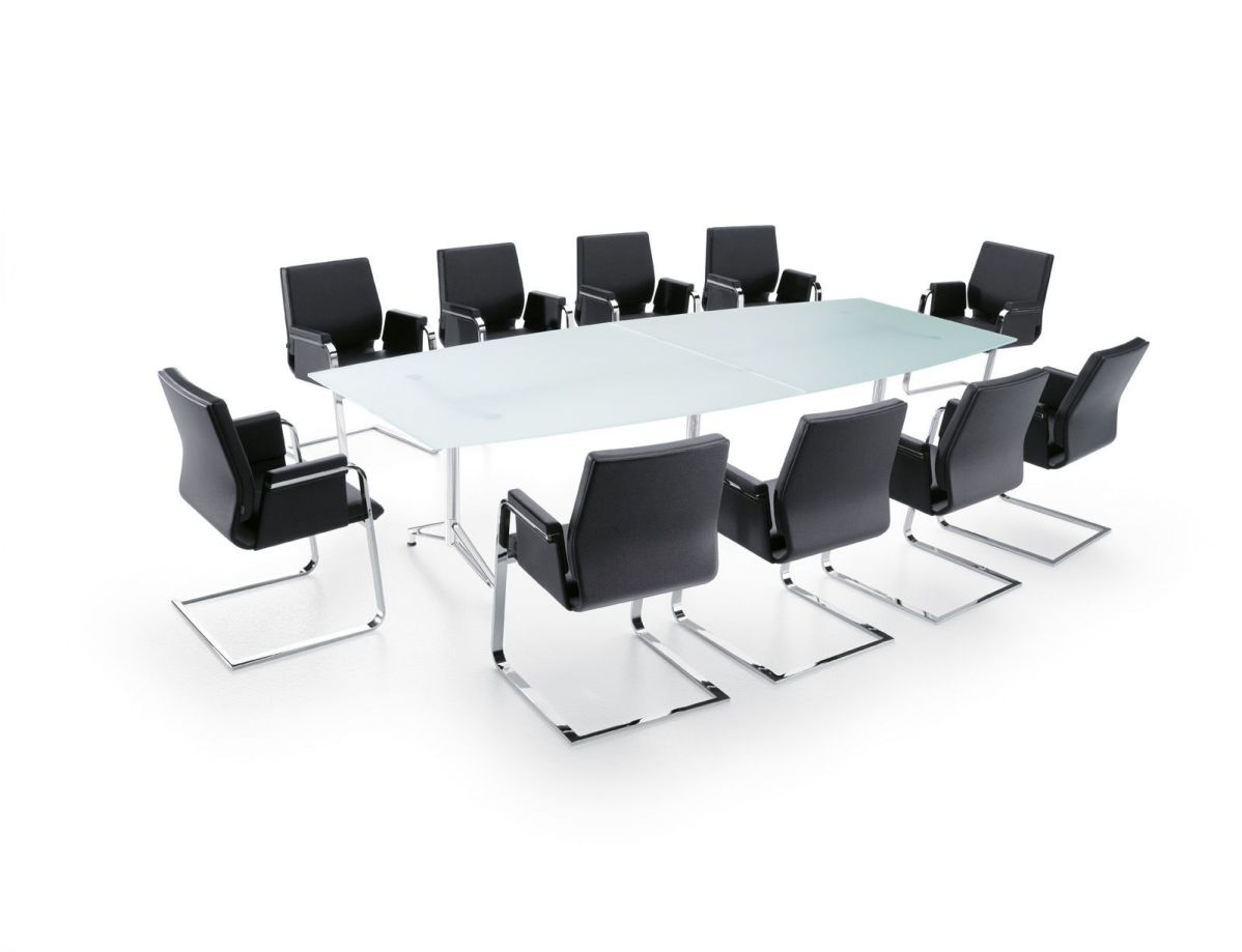 modern boardroom table and chairs with metaal base