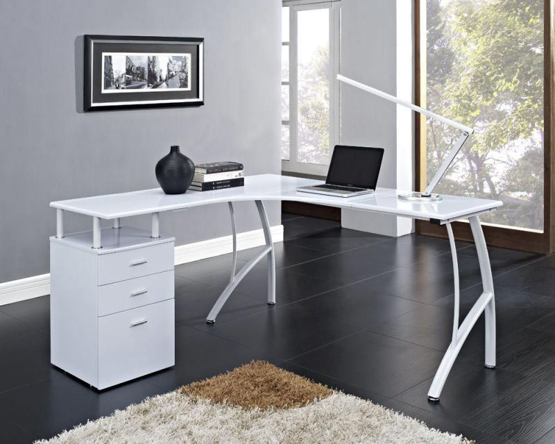 modern white corner computer desks with bottom cabinet