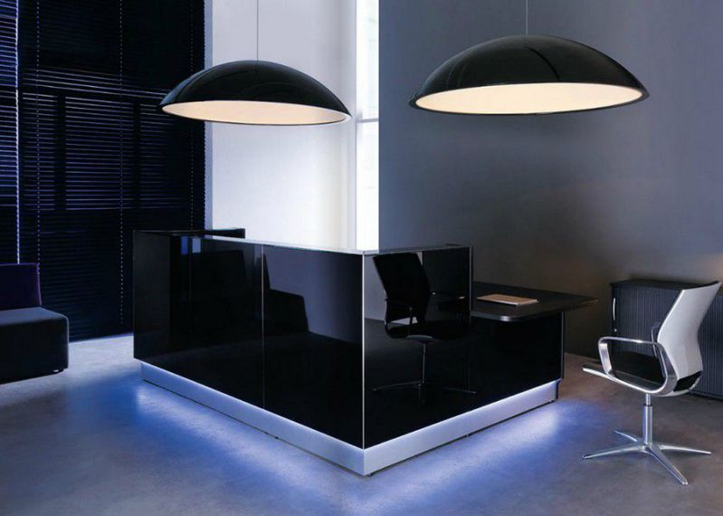 simple office reception furniture with black gloss theme