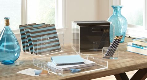 transparent glass home office accesories organizer