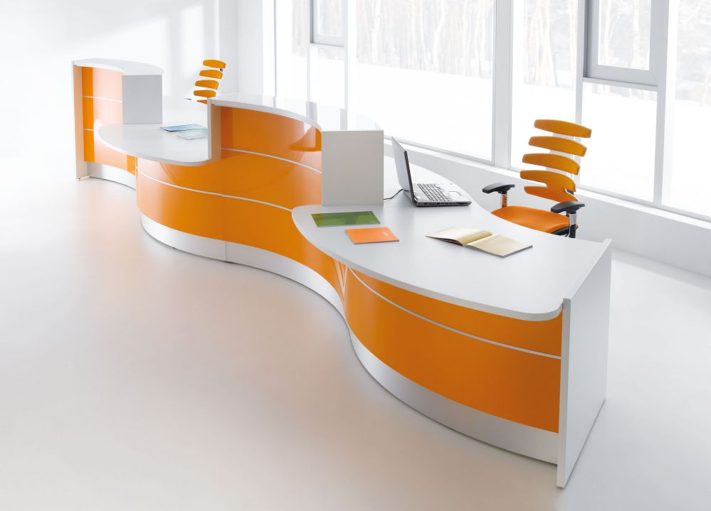 trendy office reception desk with simple design