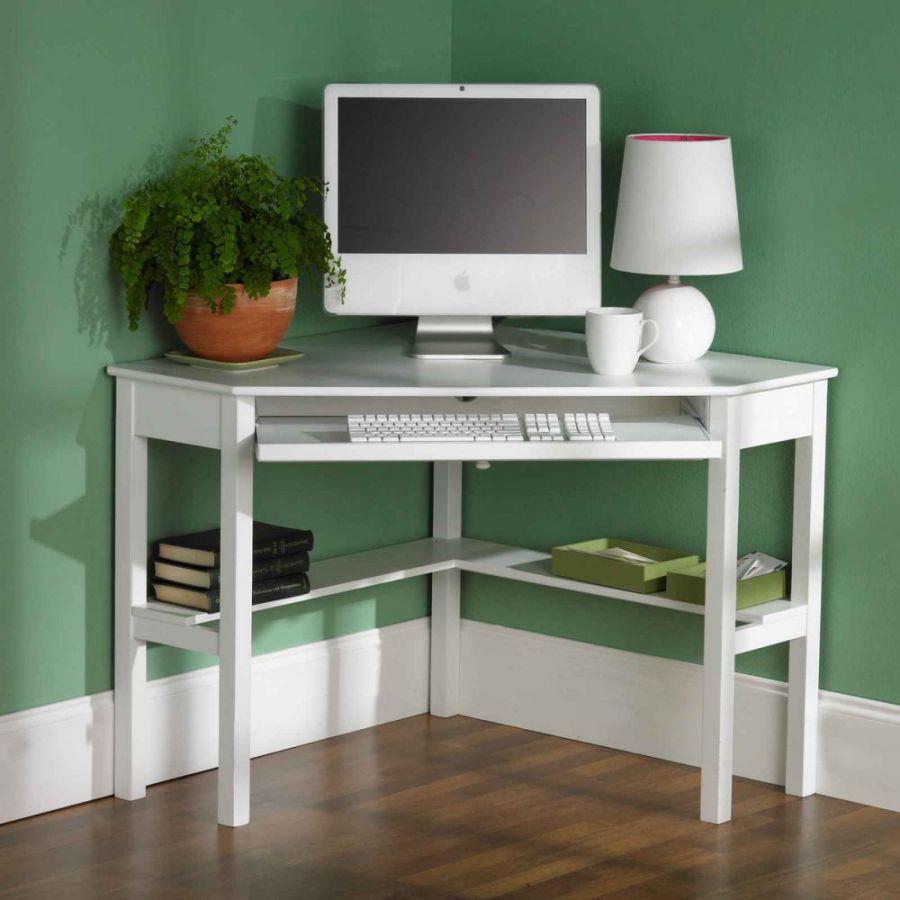 white corner computer desks for small area