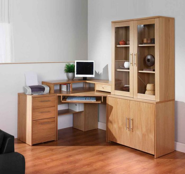 wooden corner computer desk with storage