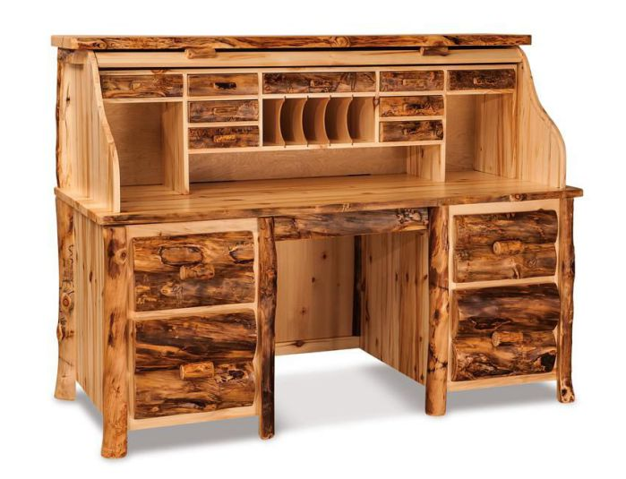 Amish Handcrafted Rustic Aspen Rolltop Computer Desk Plans