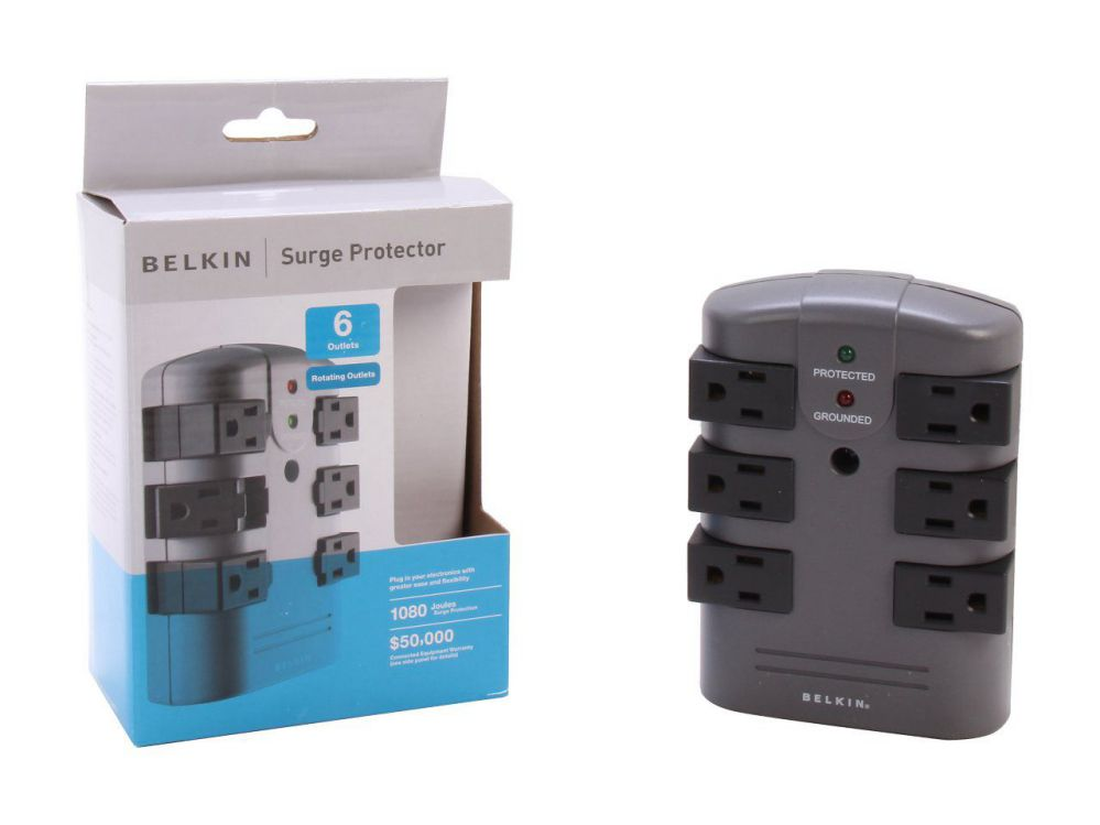 BELKIN BP106000 Wall Mount 6 Outlets 1080 Joules Pivot-Plug Surge Protector