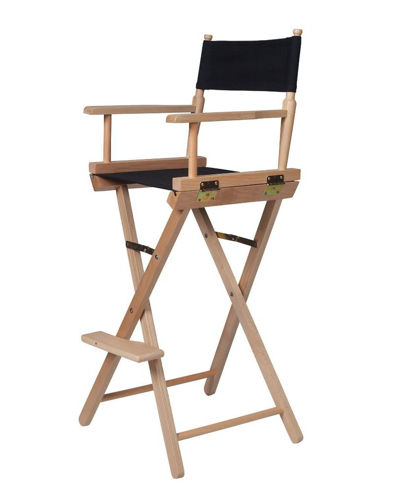 Bar Height Light Wood Black Directors Chair By Trademark Innovations
