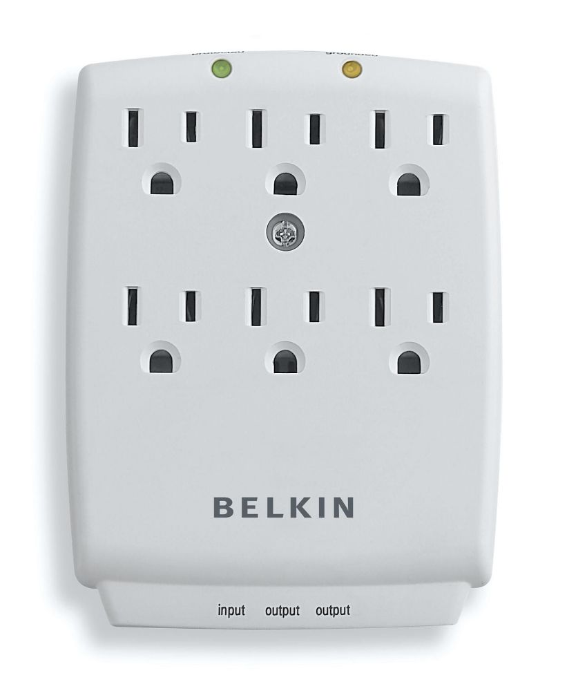 Belkin 6-Outlet SurgeMaster Wall-Mount Surge Protector, F9H620-CW