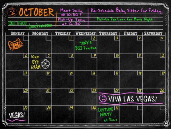 Bigtime Magnetic Refrigerator Calendar Dry Erase Black Chalkboard Board 2016 Design
