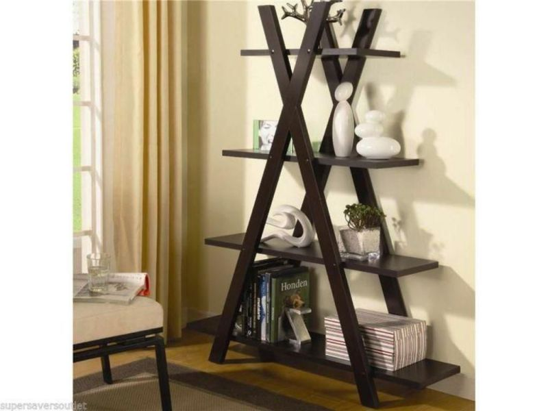 Black Leaning Ladder Shelf Plan