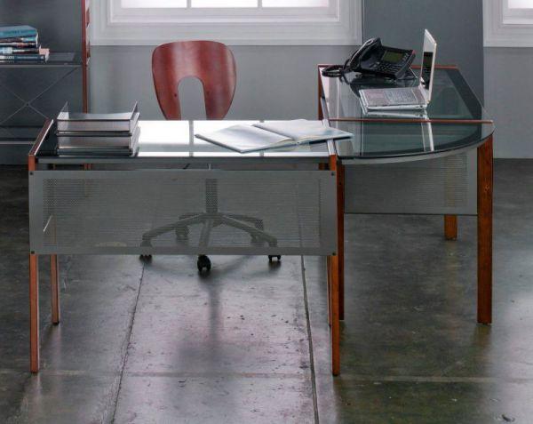 Calico Designs Office Line L Shaped Corner Desk - Sonoma Brown with Optional Keyboard Shelf