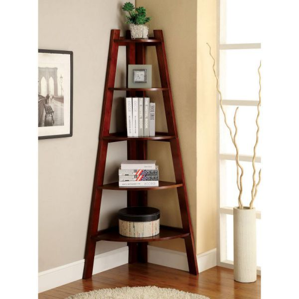 Corner Cherry Wood Leaning Ladder Shelves