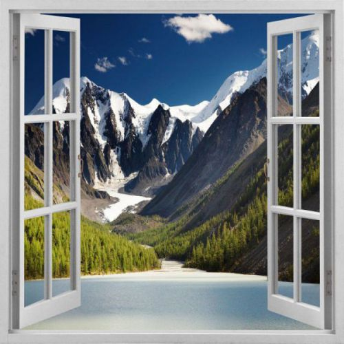 Easy Stick, polyester fabric, Canadian Rockies, small cubicle window
