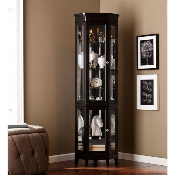 Essex Black Curio Cabinet with Light