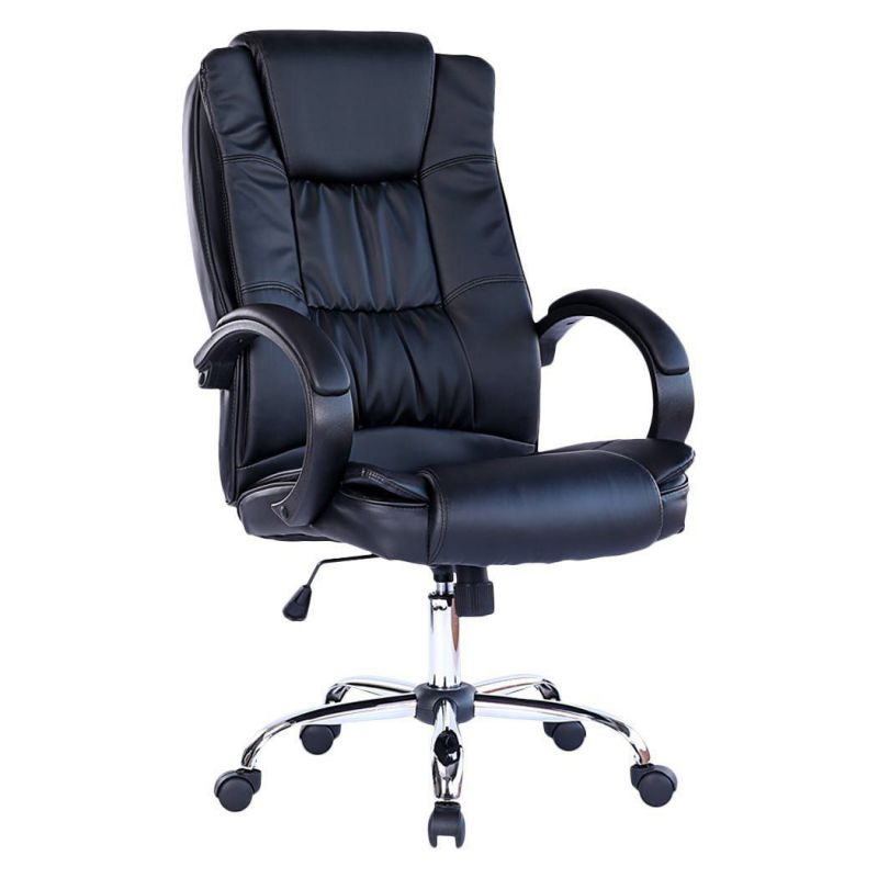 Executive Leather Office Chair Black Chrome Base