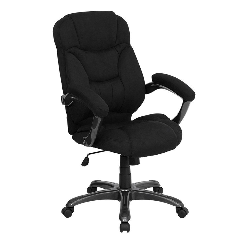 Flash Furniture GO-725-BK-GG High Back Black Microfiber Upholstered Contemporary Office Chair