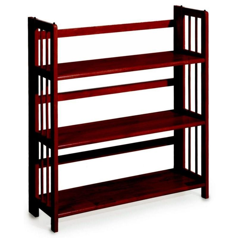 Mission Style 38 x 27.5 Inch Mahogany Folding Stacking Bookcase