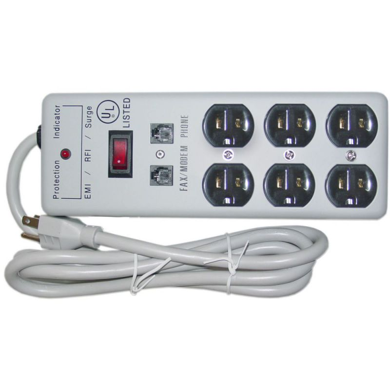 Modem 6 Outlet Surge Protector 1 X3 MOV EMI & RFI