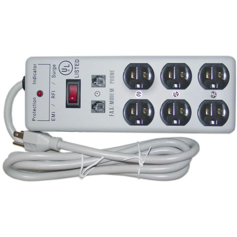 Modem 6 Outlet Surge Protector 1 X3 MOV EMI & RFI