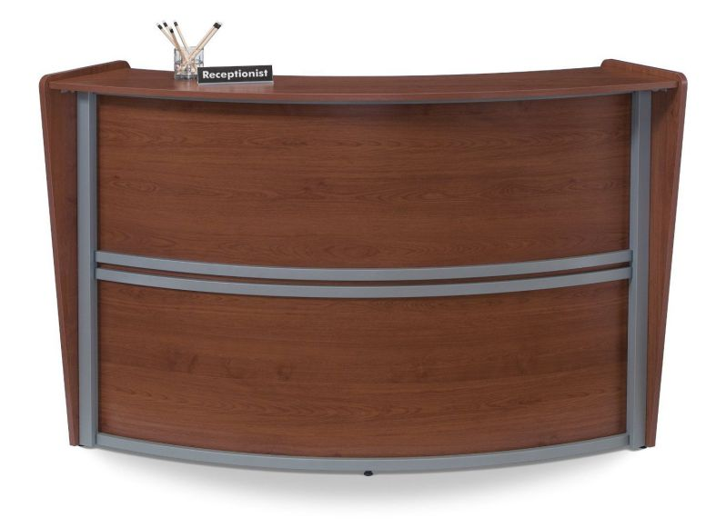 OFM 55290 Marque Series Single-Unit Curved Reception Station, Cherry