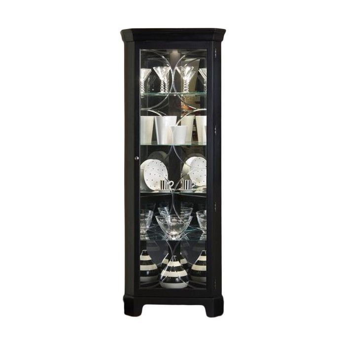 Oxford Black Corner Curio Cabinet with Lights
