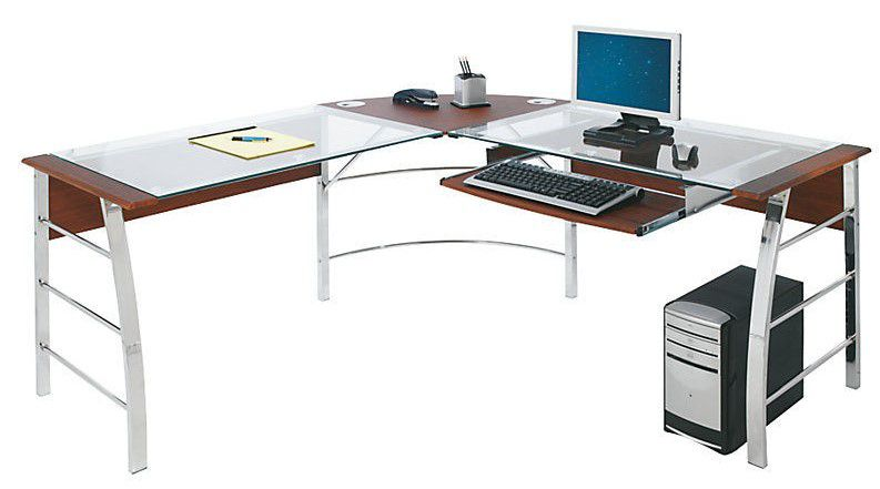 Realspace Mezza L-Shaped Glass Computer Desk, Cherry Chrome