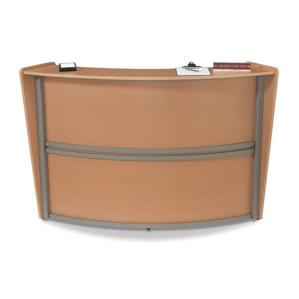 Reception Furniture Single Unit Maple Curved Station by OFM