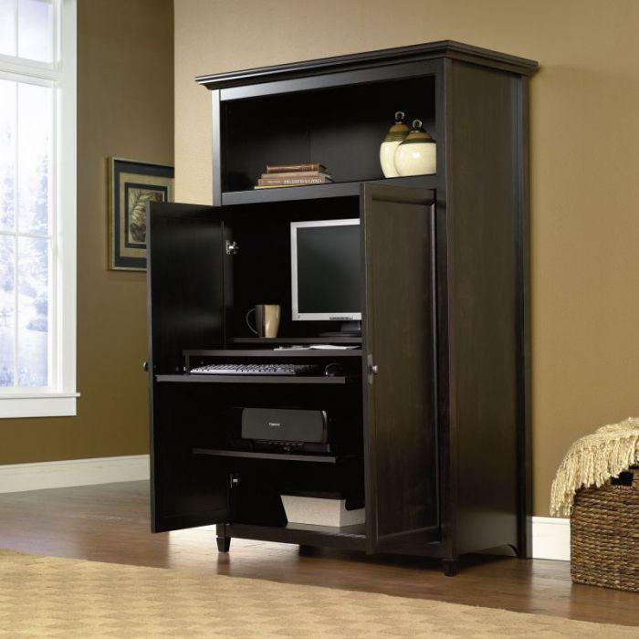 Sauder black computer armoire