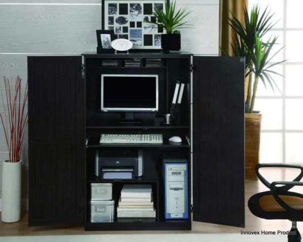 Sauder contemporary computer armoire in black