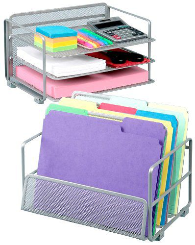 Seville Classics Office Desk Organizer, Platinum Mesh 6-Trays