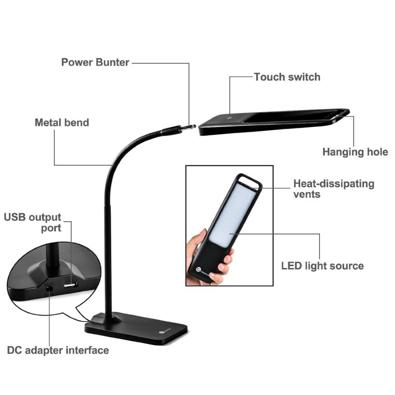 TaoTronics LED Gooseneck Desk Lamp with Detachable Emergency Light Source
