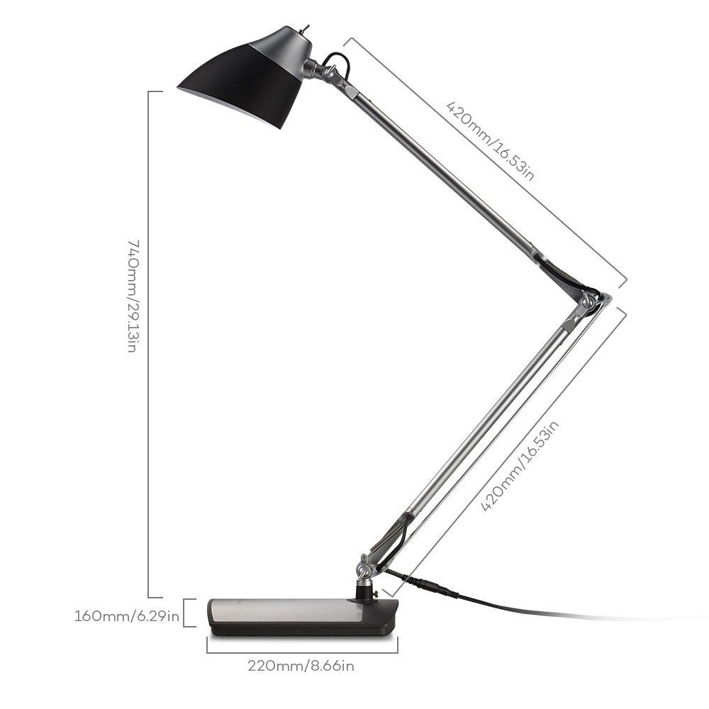 TaoTronics Metal Desk Lamp LED with Flexible Arm