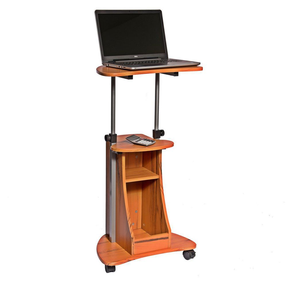 Techni Mobili Adjustable Height Laptop Reading Cart With Storage