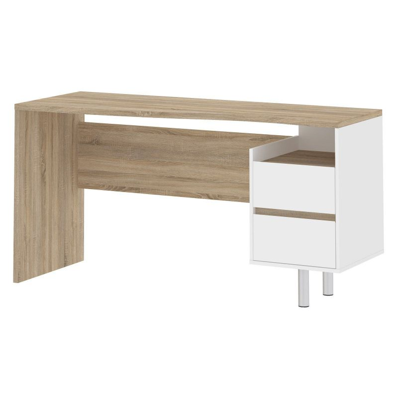 Tvilum Whitman Plus Walter 2 Drawer Desk in Oakstructure and White