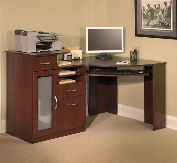 corner computer desk with small armoire