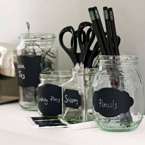 home office chalkboard labels for jars