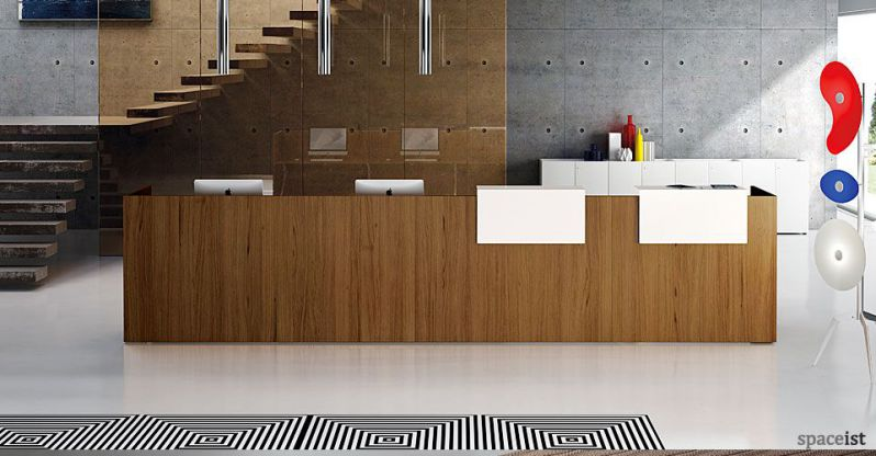ithos modern white reception desk