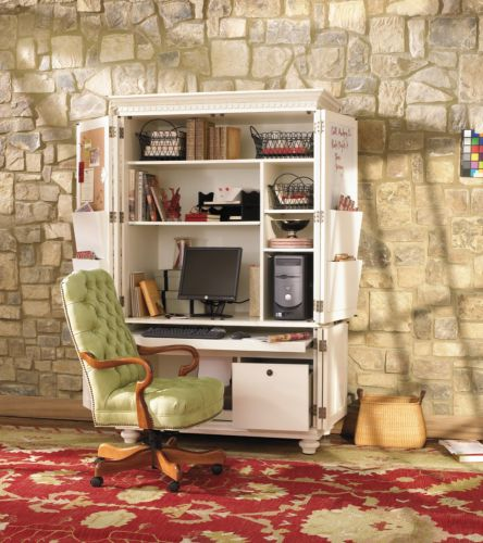 modern computer armoire desk in clear white