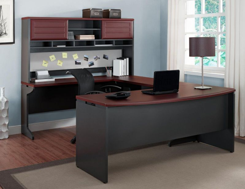 Altra Pursuit U-Shaped Desk with Hutch Bundle, Cherry Gray