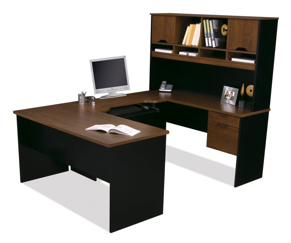Bestar Innova U-Shaped Workstation Kit - Tuscany Brown and Black