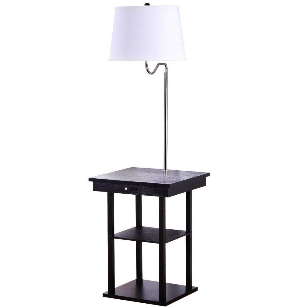 floor lamp with built in two tier black table with open display space. Black Bedroom Furniture Sets. Home Design Ideas