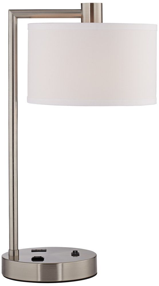Colby Brushed Nickel Desk Lamp with Power Outlet and USB Port at Bottom