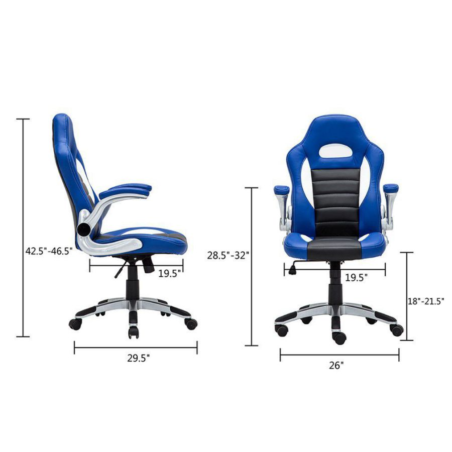GHP PU Leather Executive Home Office Racing Style Bucket Desk Seat Chair