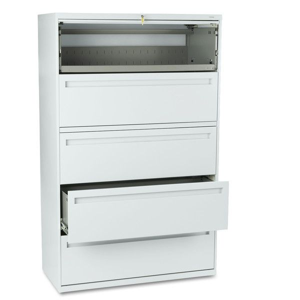 HON 700 Series 42-inch 5-Drawer Grey File Cabinet