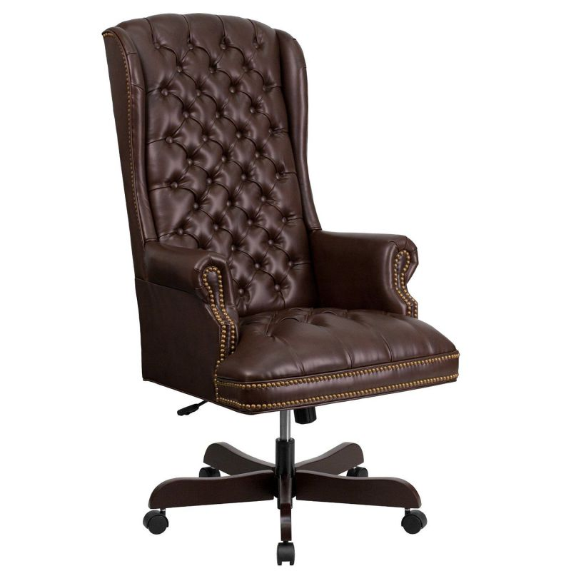 High-Back Traditional Tufted Brown Leather Executive Swivel Office Chair