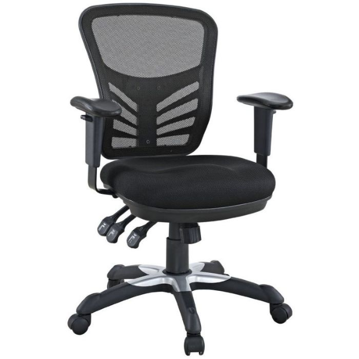 LexMod Articulate Black Mesh Counter Height Office Chairs